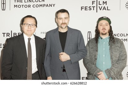 New York, NY USA - April 23, 2017: Morgan Pehme, Dylan Bank, Daniel DiMauro attend premiere Get Me Roger Stone at SVA during 2017 Tribeca Film Festival