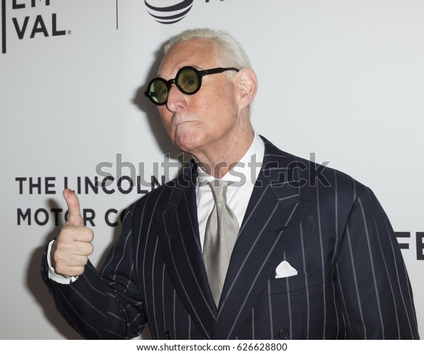 New York, NY USA - April 23, 2017: Roger Stone attends premiere Get Me Roger Stone at SVA during 2017 Tribeca Film Festival
