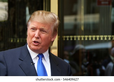 New York, NY, USA - Aug 3 2008: Donald Trump  on 5th Avenue in front of Trump Tower in New York City.
