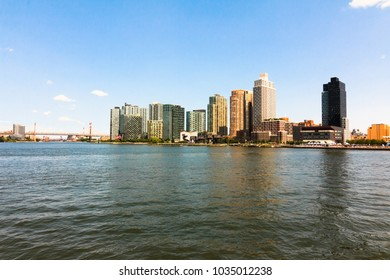 NEW YORK, NY / USA - August 26, 2017: River view of Long Island City.
