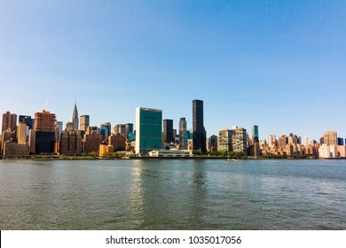 NEW YORK, NY / USA - August 26, 2017: River view of Manhattan, NY.