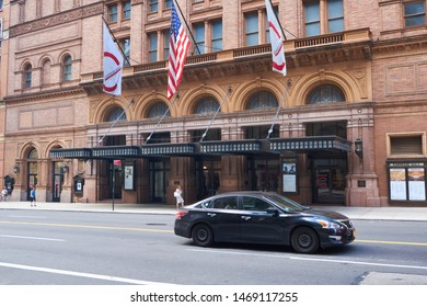 New York, NY, USA - August 3, 2019: Carnegie Hall is  a world famous landmark concert venue located in midtown Manhattan on West 57th Street at Seventh Avenue.