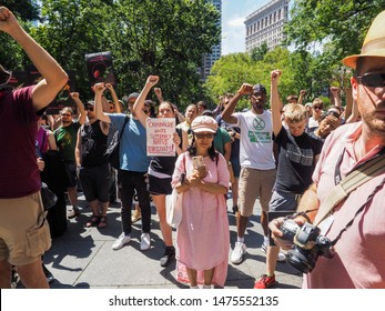 """New York, NY, USA - August 10, 2019: """"Close The Camps"""" protest organized by coalition of activists lead by Cosecha NYC and Earth Strike NYC held at Madison Square Park, Manhattan"""