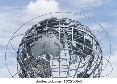 New York, NY, USA - August 21, 2019: The Unisphere at Flushing Meadows Corona Park in Queens. This huge metal globe of the earth was exhibited at the 1964 New York World's Fair