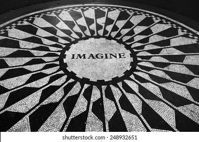 New York, NY, USA August 21: The Imagine mosaic in the Strawbery Fields section of Central Park, which pays tribute to the late John Lennon on August 21, 2014.
