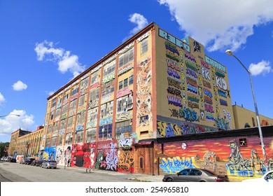 New York, NY, USA - August 4, 2013: 5pointz:  5Pointz is graffiti mecca in Queens, New York.It is likely to be demolished by September 2013 and build two apartment buildings in the future.