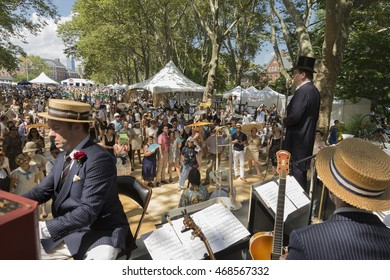 New York, NY USA - August 13, 2016: Gregory Moore & Simon Mulligan perform tribute to Bill Cunningham at 11th annual Jazz Age lawn party by Michael Arenella & Dreamland Orchestra on Governors Island