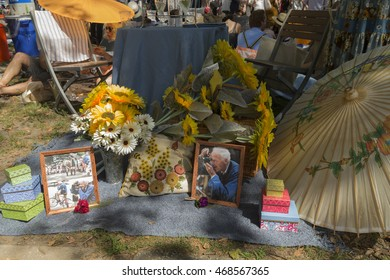 New York, NY USA - August 13, 2016: Tribute to Bill Cunningham during 11th annual Jazz Age lawn party by Michael Arenella & Dreamland Orchestra on Governors Island