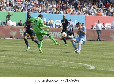 New York, NY USA - August 20, 2016: Goalkeeper Clement Diop (31) of LA Galaxy saves ball during MLS match against NYC FC on Yankees stadium