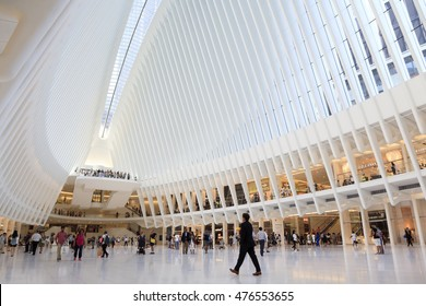 New York, NY, USA - August 23, 2016: Inside of World Trade Center Transportation Hub:  World Trade Center Transportation Hub is the a large transit station for PATH rail service and retail complex.