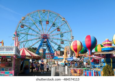 New York, NY, USA - August 30, 2016: Wonder Wheel: Wonder Wheel is a hundred and fifty foot eccentric wheel built in 1920 in Luna Park Coney Island.