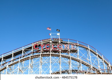 New York, NY USA - August 30, 2016: Cyclone: Historical landmark Cyclone roller coaster  in the Coney Island section of Brooklyn. Cyclone is a historic wooden roller coaster opened on June 26, 1927.