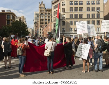 New York, NY USA - August 13, 2017: Few hundreds socialist demonstrators attend rally against nationalist protest in Charlottesville, Virginia ahead of President Trump visit on Union Square