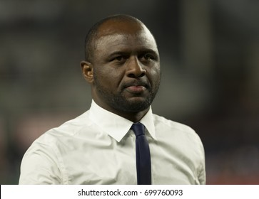 New York, NY USA - August 20, 2017: Head coach Patrick Vieira of NYC FC attends regular MLS game against New England Revolution on Yankee stadium NYC FC won 2 - 1