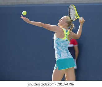 New York, NY USA - August 23, 2017: Polina Monova of Russia serves during qualifying game against Catherine McNally of USA at US Open 2017
