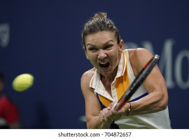 New York, NY USA - August 28, 2017: Simona Halep of Romania returns ball during US Open Championships day match against Maria Sharapova of Russia at Billie Jean King Tennis center