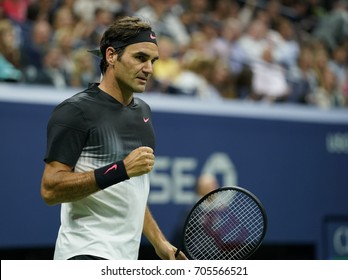New York, NY USA - August 29, 2017: Roger Federer of Switzerland reacts during match against Frances Tiafoe of USA at US Open Championships at Billie Jean King National Tennis Center