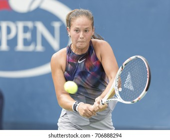 New York, NY USA - August 31, 2017: Daria Kasatkina of Russia returns ball during match against Christina McHale of USA at US Open Championships at Billie Jean King National Tennis Center