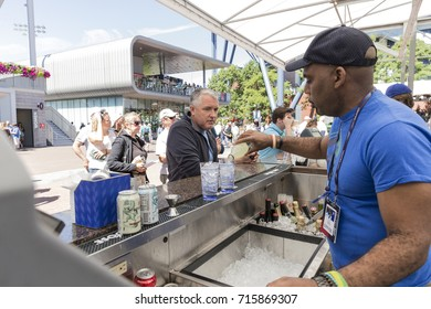 New York, NY USA - August 31, 2017: Food court at US Open Championships 2017 featured Baseline Cocktails by Grey Goose vodka