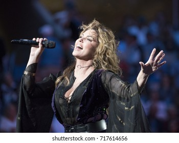 New York, NY USA - August 28, 2017: Shania Twain performs during opening ceremony at US Open Championships day 1 at Billie Jean King Tennis center