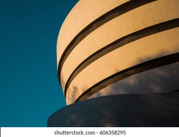NEW YORK, NY, USA - CIRCA: The Solomon R. Guggenheim Museum in New York against a blue sky.