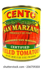 New York, NY, USA Dec 2, 2014  Closeup of a can of San Marzano tomatoes