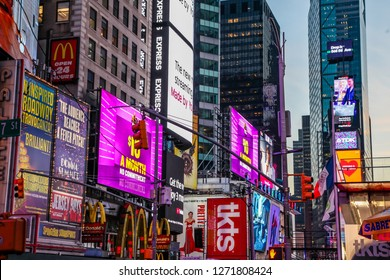 NEW YORK, NY, USA - DECEMBER 27, 2018: Beautiful evening with street lights on Times Square
