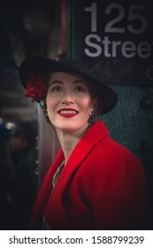 New York, NY / USA - December 8th 2019; NYC Holiday Nostalgia Train - magic of New York City Sunday's - People dressed in vintage clothes, fashion to match 1930's style in NYC.