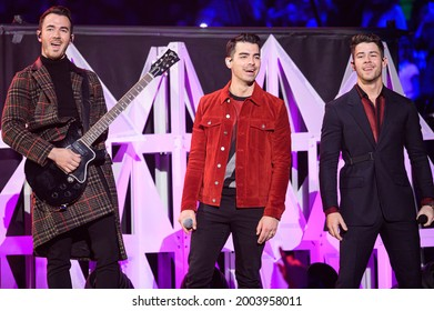New York, NY, USA - December 13, 2019:  The Jonas Brothers perform at the 2019 Z100 Jingle Ball at Madison Square Garden.