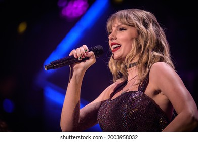 New York, NY, USA - December 13, 2019:  Taylor Swift performs at the 2019 Z100 Jingle Ball at Madison Square Garden.