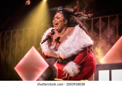 New York, NY, USA - December 13, 2019:  Lizzo performs at the 2019 Z100 Jingle Ball at Madison Square Garden.