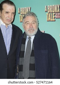 New York, NY USA - December 1, 2016: Chazz Palminteri & Robert De Niro attend opening night for A Bronx Tale The New Musical at Longacre Theatre
