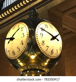 New York, NY, USA December 18, 2017 The beautiful opal glass clock has been telling time in New York's Grand Central Station for more than 100 years