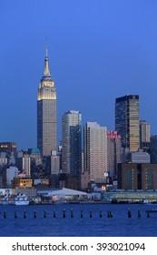 NEW YORK, NY, USA- FEB 26: Empire State Building, New York Skyline from NJ, February 26, 2014