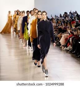 New York, NY, USA - Febbruary 14, 2018: Models walk runway for Leanne Marshall Fall/Winter 2018 runway show during New York Fashion Week at Spring Studios, Manhattan