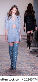 New York, NY, USA - February 10, 2018: A model walks runway for alice McCall Fall/Winter 2018 runway show during New York Fashion Wweek at Industria, Manhattan