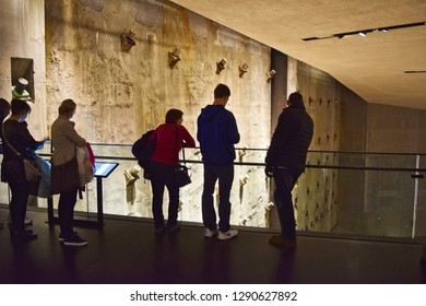 New York, NY, USA - February 22, 2016: Inside the 911 Memorial Museum showing the slurry wall with rebars