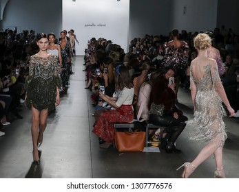 New York, NY, USA - February 7, 2019: Models walk runway for the Pamella Roland Fall/Winter 2019 collection during New York Fashion Week at Pier 59 Studuos, Manhattan