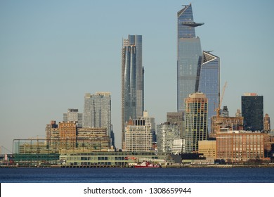 New York, NY / USA - February 9, 2019: Hudson Yards from The Hudson River
