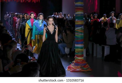 New York, NY, USA - February 10, 2019: Models walk runway for the Prabal Gurung Fall/Winter 2019 collection during New York Fashion Week at Spring Studios, Manhattan