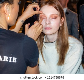 New York, NY, USA - February 11, 2019: A model prepares backstage for Dennis Basso Fall/Winter 2019 Collection during New York Fashion Week at Cipriani 42nd Street, Manhattan