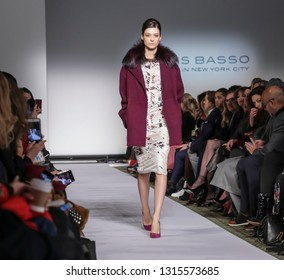 New York, NY, USA - February 11, 2019: A model walks runway for Dennis Basso Fall/Winter 2019 Collection during New York Fashion Week at Cipriani 42nd Street, Manhattan
