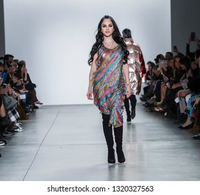 New York, NY, USA - February 9, 2019: Natti Natasha walks runway for the Custo Barcelona Fall/Winter 2019 collection during New York Fashion Week at Pier 59 Studios at Chelsea Piers, Manhattan