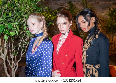 New York, NY, USA - February 6, 2019: Models show up dress for L'AGENCE FW19 collection Presentation during New York Fashion Week at Industria, Manhattan