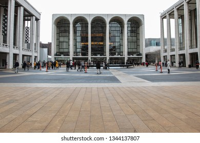 NEW YORK, NY, USA - FEBRUARY 14, 2015: Thee Lincoln Center Plaza during Mercedes-Benz Fashion Week in NYC.