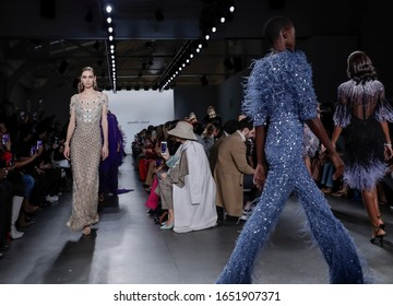 New York, NY, USA - February 7, 2020: Models walk runway for Pamella Roland Fall/Winter 2020 collection at Pier 59 Studuos, Manhattan