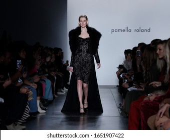 New York, NY, USA - February 7, 2020: A model walks runway for Pamella Roland Fall/Winter 2020 collection at Pier 59 Studuos, Manhattan