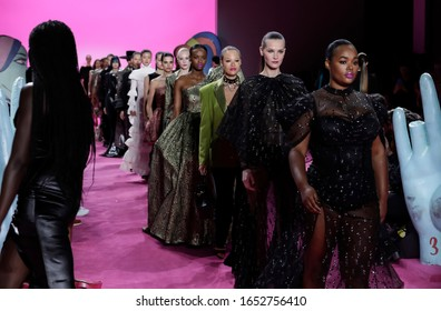 New York, NY, USA - February 6, 2020: Models walk runway for the Christian Siriano Fall/Winter 2020 collection at Spring Studios, Manhattan