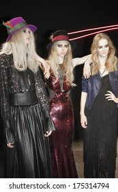 New York, NY, USA - February 06, 2014: Models pose on stage at Jay Godfrey Presentation during Mercedes-Benz Fashion Week Fall 2014 at The Hub at The Hudson Hotel, NYC