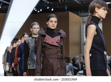New York, NY, USA - February 15, 2015: Models walk runway for Derek Lam FW15 Runway show during Mercedes-Benz Fashion Week New York at the 545 West 22nd Street, Manhattan